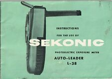 Sekonic Instruction Manual for Auto-leader L-38 photoelectric exposure meter