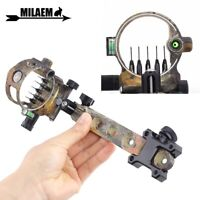 Compound Bow Sight 5 Pin (.019) Archery Micro Adjustable Optical Fiber Hunting
