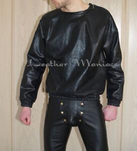 Leder-Pullover Lederpullover Lederpulli leather sweater
