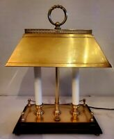 VNTG 2Candlestick Table /Desk Lamp French  Bouillotte Brass Tole Wood Base 10×15