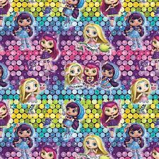 Nelvana Little Charmers Girls Ombre Sequins print 100% cotton fabric by the yard