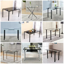 Dining Glass Table Metal Legs Breakfast Kitchen Room Rectangular Furniture New