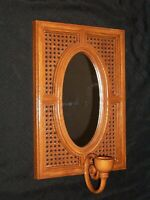 Vintage Syroco INC Wicker Look Plastic Wall Mirrored Sconce # 4227