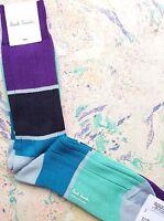 Paul Smith Mens Chunky Socks Spin Block Ribbed Violet Navy K448 1-Size CottonMix