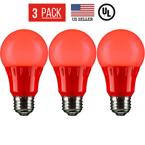 3 PACK 3W LED A15 COLORED LIGHT BULB, NON-DIMMABLE, E26 MEDIUM BASE, RED
