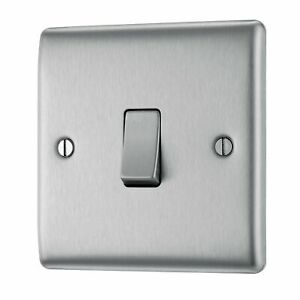 BG Electrical Single Light Switch, Brushed Steel, 2-Way, 10AX NBS12-01 on off UK