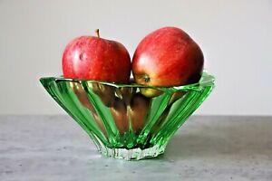"""Crystal Bowl 8 """" Green Vase Bohemia Czech Glass Fruit Desert Sweets Gift NEW"""