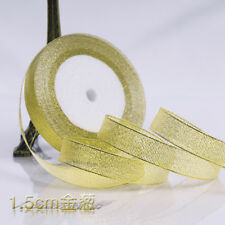 25 yards 3-50mm silver/gold silk ribbon party wedding decoration DIY material