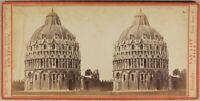 Italia Pisa il Battistero Foto Van Lint c1865 Stereo Vintage Albumina