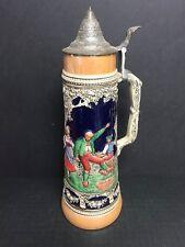 """Vintage Lidded German Made 16"""" Beer Stein """"Tanz auf der Alm"""" circa 1950s"""