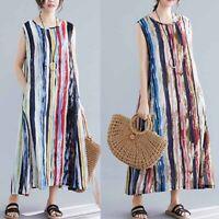 ZANZEA Women Sleeveless O Neck Striped Printed Casual Dress Summer Maxi Sundress