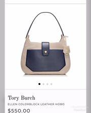 "a936f6dbc2e0 Tory Burch ""Ellen"" Color-Block Navy Blue Beige Hobo Bag! Nice"