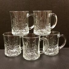 Pasari Livia Pressed Glass Clear Mugs Roses Embossed Vtg Indonesia Set Of 5 Cups