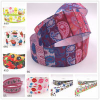 1-10 Yard 1'' 25MM Printed Grosgrain Ribbon Hair Bow Sewing Ribbon