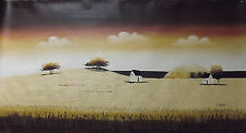 mimmal long ladscape large oil painting canvas cream brown original countryside