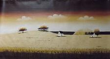 mimmal largo paisaje grande pintura al óleo lienzo crema marrón del campo