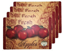 NWT RED APPLES 4 PLACEMATS SET KITCHEN TABLE FRUIT DECOR VINYL FOAM BACK 12x18
