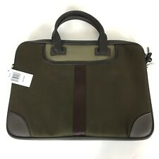 Tallia Mens Leather Twill Business Casual Laptop Bag Briefcase Olive Brown