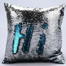 Sequin Mermaid Cushion Pillow Throw. Blue and Silver reversible. Fast Post