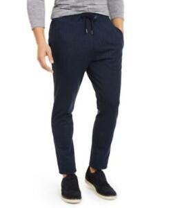 MSRP $75 Alfani Men's Stretch Stripe Knit Drawstring Pants Navy Size Large