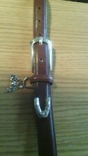 Ladies brown leather Brighton belt with silvertone buckle &charms.