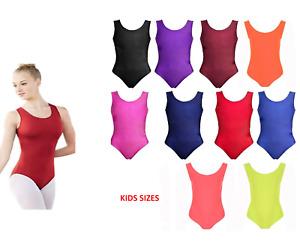 Girls Nylon Sleeveless Leotard Kids Bodysuit Shiny Nylon  -Gymnastics, Swim
