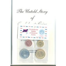 CIVIL WAR CSA CONFEDERATE STATES COIN SET 4 PC'S RESTRIKES WITH STORY BOOK MINT