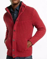 new soldout MENS EXPRESS sherpa lined cardigan sweater valentines m red $148.00