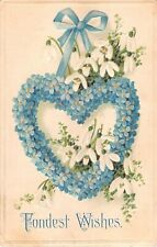 Lovely Snowdrops Around Heart Made of Forget-Me-Nots on 1909 PC-Serie 7095 A