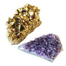 2 Crystal Natural Amethyst Gold Titanium Specimen Cluster Mineral Stone Quartz