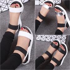 Womens Flat Wedge Chunky Sandals Platform Summer Beach Peep Toe Shoes Casual