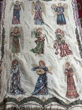 Christmas Angel Tapestry Throw Blanket Fringe 47x71 Winter Goodwin Weavers