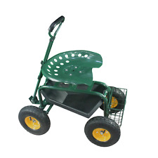 Garden Cart Rolling Seat Work Tray Heavy Duty Stool Scooter Green Capacity 150KG