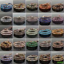 Handmade Wrap Adjustable 2 Layers Leather Bracelet Natural Gemstone 4mm Beads