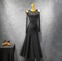 Latin Ballroom Dance Dress Modern Salsa Waltz Standard Long Dress#G327 Black