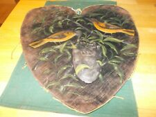 WONDERFUL 1800S THEOREM PAINTING ON VELVET HEART SHAPED WITH OILCLOTH BIRDS NEST