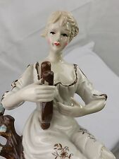 Vintage Lady Playing Mandolin Figurine Hand Painted Glazed Porcelain ELO On Base