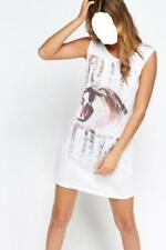 Women's Girl's Metallic Wild Animal Print T-Shirt Dress Size 8 UK New With Tags