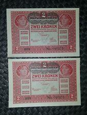BANCONOTA AUSTRIA 2 KRONEN DECR 1 MARZO 1917 FDS DA MAZZETTA/CONSECUTIVE