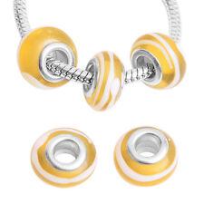 10pcs DIY White Stripes Yellow&Green Lampwork Glass Beads Fit European Charms J