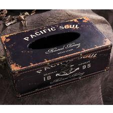 Vintage Facial Tissue Box Holder Cover Antique Nautical Anchor Design Black