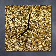 Glass Wall Clock Kitchen Clocks 30x30 cm silent Mosaic Gold