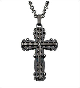 $145 AUTH NEW 'BLACK & BLUE' Jewelry Co. HIGH LINE Stainless Steel Diamond Cross