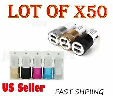 Wholesale Lot Of 50 Dual USB 2 Port Car Charger Adapter 2.1A For Apple Samsung