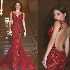 Rote Meerjungfrau V-Ausschnitt Spitze Brautkleider Hochzeitskleid Abendkleider