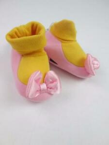 DISNEY STORE MINNIE MOUSE PINK/GOLD BOW BOOTIES SHOES COSTUME SZ 0-6MTHS NWT