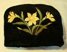 1930's Black Silk Velvet Tea Cozy Decorated with Reflective Glass Beaded Paint