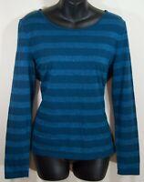 Talbots Blue Sparkle Striped Long Sleeve T Shirt Top Blouse Medium Petite MP