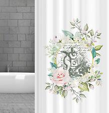 Rideau de Douche en Tissu Vintage Engel Mit Rose 180x180 cm Inclus Anneaux Blanc