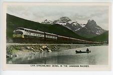 CPR Streamlined Diesel Locomotive Railroad RPPC Photo Train Vintage BC 1930s